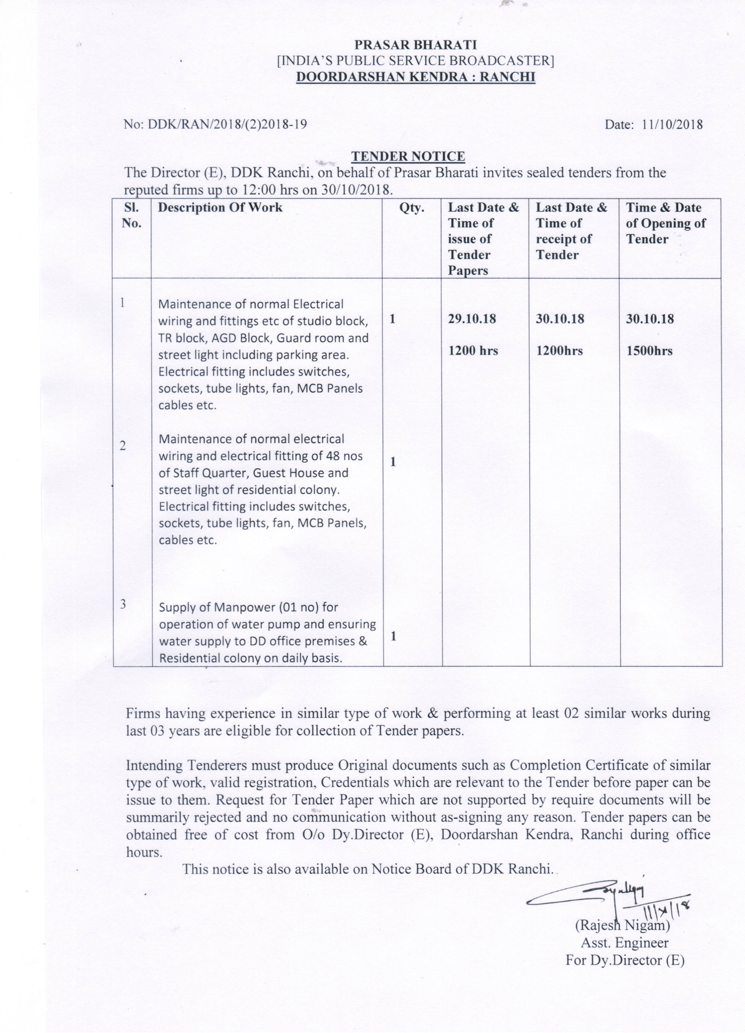 Dd Jharkhand Index Electrical Wiring Tender Rate Contract For Works